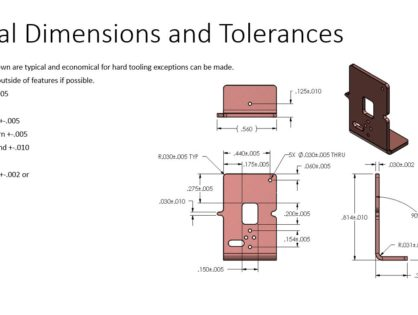 Typical dimensions and tolerances for stamped components