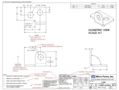 Creating drawings for stamped metal parts or sheet metal